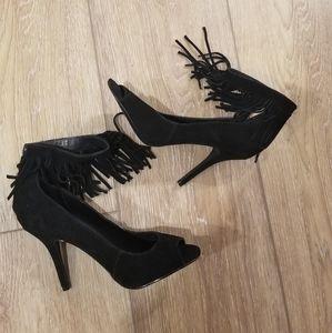 Steve Madden black heels fringe size 9